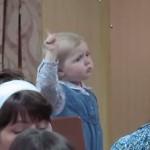 Cute Little Girl Conducts Choir